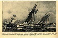 """Von der Kieler Woche die Jacht des Kaisers """" Meteor"""" Text / Bilddokument 1907"""