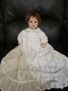 "Adora 18"" Baby Girl Doll Brown Hair Eyes in Christening Dress"