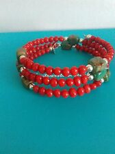 QVC SOUTHWESTERN STERLING SILVER, CORAL AND TURQUOISE COIL BRACELET.