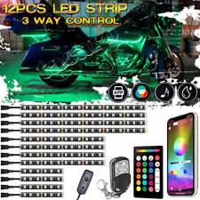 12X Motorcycle LED Light RGB Under Glow Body Strip bluetooth Music Control Lamp