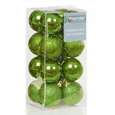 Premier - Boule de Noël Vert Pomme incassable Assortiment x 16