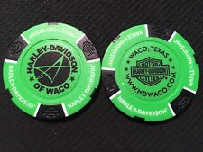 "Harley Davidson Poker Chip (NEON Green & Black) ""Waco"" Texas NEW DESIGN"