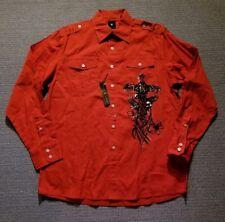 Karl Kani Gold Red Button Front Long Sleeve Shirt Men's Size Large L NWOT