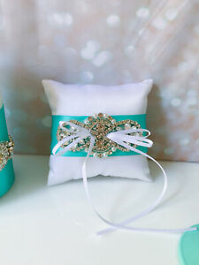 Wedding Ring Pillow Turquoise Crystal Accessories Tiffany Wedding Decor