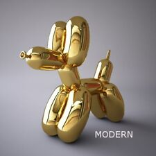 BALLOON DOG FIGURE + JEFF KOONS POSTER SET - GOLD - 10 INCHES - NEW