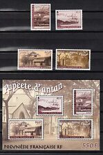 French Polynesia 2003 - Old Papeete - Sc 845 - 848a, set and S/s, Mint NH