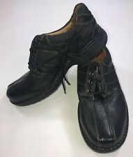 Clarks Mens Size 8 Wide 8W Unstructured Black Leather Casual Oxfords Shoes New
