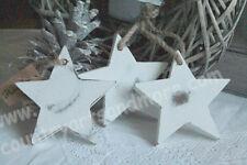 3 x großer Stern, Star, Holz, Holzstern, Weiß, White, Shabby, Vintage Chic,11 cm