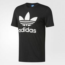 New Adidas Originals MEN'S Casual Classic Logo Trefoil Tee Shirt Black SZ L XL