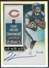 2015 Contenders Jeremy Langford S.P Auto Championship Ticket Serial # 35/49 RARE