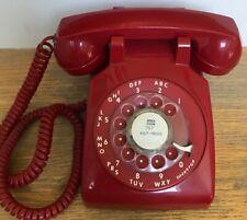 Vintage ITT 500 Red Rotary Dial Mid Century Desk Telephone