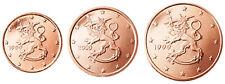 Finland 1, 2 & 5 Euro Cent 2007 UNC Lion