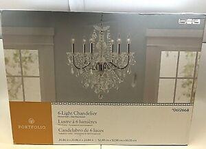 Portfolio 0612668 6-Light Polished Chrome Vintage Crystal Candle Chandelier  New