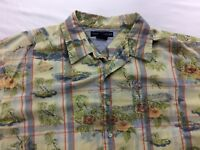Tommy Hilfiger Men's Plaid Hawaiian Shirt Size XL, Green/Blue/Red Palm Trees