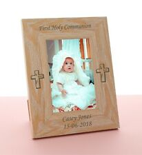 Personalised First Holy Communion Gift Engraved Wooden Photo Frame Boy or Girl