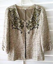 """COLDWATER CREEK Jacket Open Front Beige Floral Blinged Cotton Blend SZ 8 """"EUC"""""""
