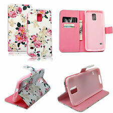 Flower PU Leather Pocket Wallet Soft Cover Case For Samsung Galaxy S5 SV i9600