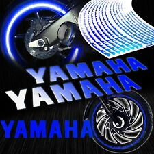 "8""Reflective Logo Decal+Fire/Flame Rim Tape/Wheel Stripe Sticker for Yamaha Blue"