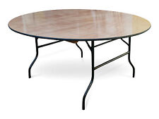 "5ft6"" Round Wooden Banqueting Table Folding Wishbone American Legs Plywood 168cm"