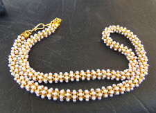 South Indian Jewelry Bollywood Gold Plated Pearl Beads Necklace Bridal Mala Set