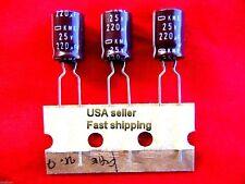 3 pcs - 220uf 25v Nippon 105c radial electrolytic capacitors Free Shipping