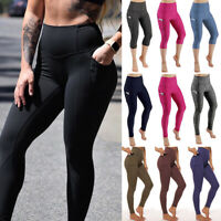 FITTOO Women Yoga Pants Capri With Pocket High Waist Push Up Workout Leggings US