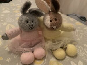 Hand knitted bunny rabbit Ballerinas X 2