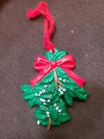 Vintage Hand Crafted Ceramic Christmas Ornament Mistletoe 70s Made from Mold