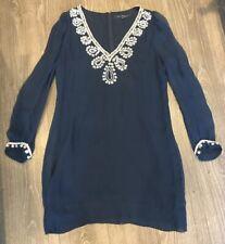 French Connection Navy Bex Silk V Neck Dress Size 10