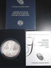2015-W BURNISHED AMERICAN SILVER EAGLE ONE OUNCE ORIGINAL US MINT BOX&COA ES7