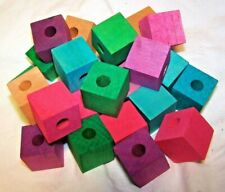 "25 Bird Toy Parts Colored Wood Blocks 1"" Square Wooden Parrot Toy W/ 5/16"" Hole"