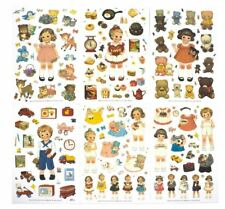 6 sheet - Paper Doll Mate Plastic Sticker Decor DIY Scrap-booking Dairy Jornal