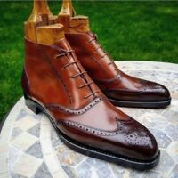 Mens Handmade Boots Two Tone Brogue Wingtip Cap Toe Brown Leather Ankle Lace Up