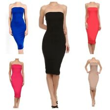 Womens Stretchy Long Strapless Midi Tube Bodycon Dress (S-3X)-USA SELLER