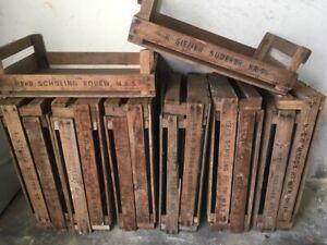 Fruit Boxes Stiegen - Deco - Wooden Box With Brandschrift Old Companies