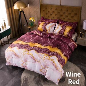 Luxury Duvet Cover Marble Print Bedding Set Pillowcases No Sheet All Size Modern