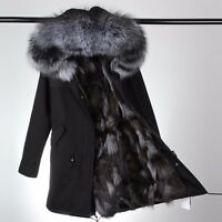Womens Fur Coat Canvas Parka Jacket Real Fur Lining & Real fur hood warm winter