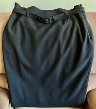 Nine West PINSTRIPE Pencil SKIRT with BELT, Fully Lined Size 12 Black