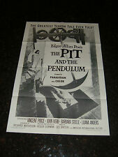 THE PIT AND THE PENDULUM Original Re-Release (R-1968) Movie Poster, C8 Very Fine