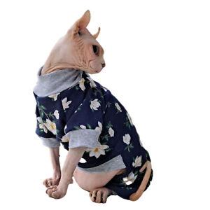 Hairless Cats Retro Flowers Soft Cotton Warm Four Leg design Jumpsuit Outfit