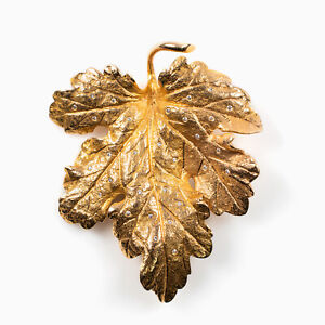 14 Kt Gold Maple Leaf Brooch with 28 Polished Diamonds .50 Carat in total weight