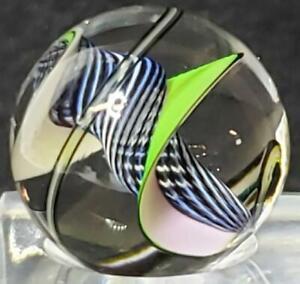 Steven Maslach Glass Contemporary Marble Zebra Latticinio Tornado