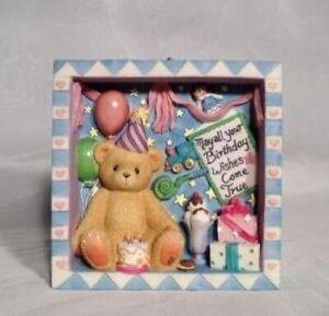 Cherished Teddies Shadow Box Happy Birthday #662410 Vintage Rare Boxed 1999
