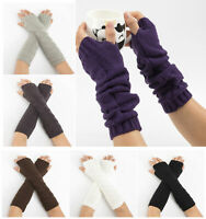 Womens Long Fingerless Gloves Thumb Hole Thermal Wrist Arm Hand Knitted Mittens