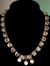 Nordstrom Natasha Haute Couture AB Crystal Pearl Gold Runway Statement Necklace