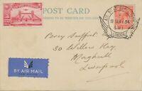 GB 1934 George V 1 d + APEX 1934 Air Post Exhibition Vignette LONDON - LIVERPOOL