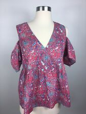 bb0e5558a8f72c Lucky Brand Womens Pink Floral Cold Shoulder Faux Wrap Top NWT Size Small  B333