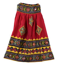 Red Embroidery Vintage Banjara Women's Skater Long Skirt Retro Indian Skirts
