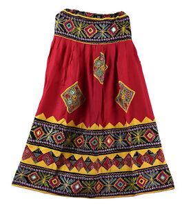 Red Embroidery Vintage Banjara Women's Skater Long Skirt Retro Indian Skirts