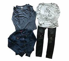 Lot (4) Size 7 Girls Cute Cat Jeans Ruffled Shirt Jean Jacket - NICE! *EEUC